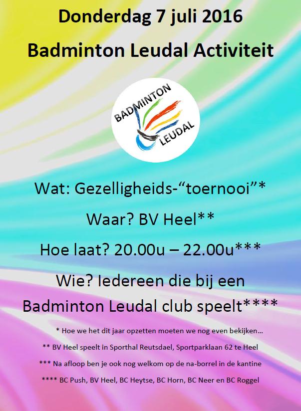 Badminton Leudal Activiteit 7 juli 2016